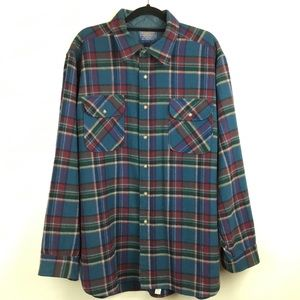 Pendleton Wool Flannel Shirt Blue Plaid